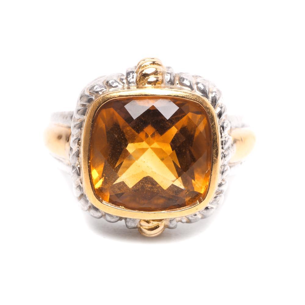 Lorenzo Size 7 18k Gold & Sterling Citrine Ring