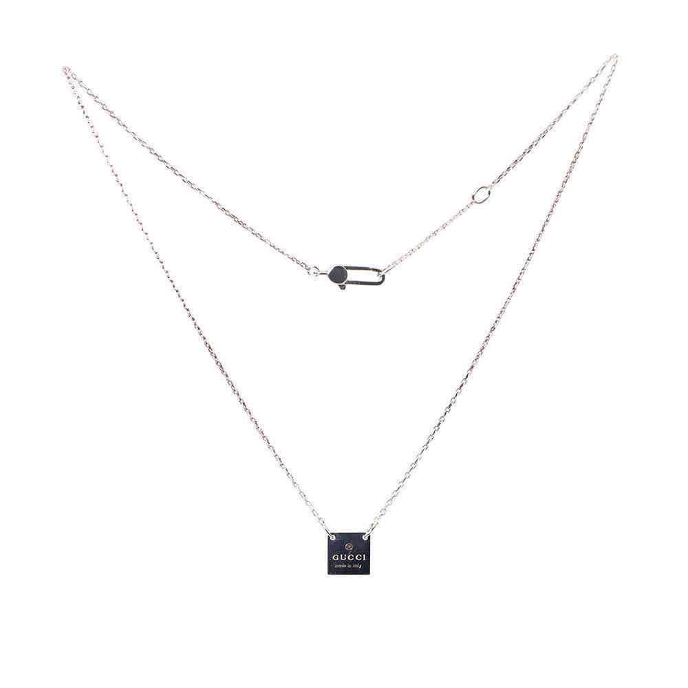 Gucci Sterling Silver Square Necklace