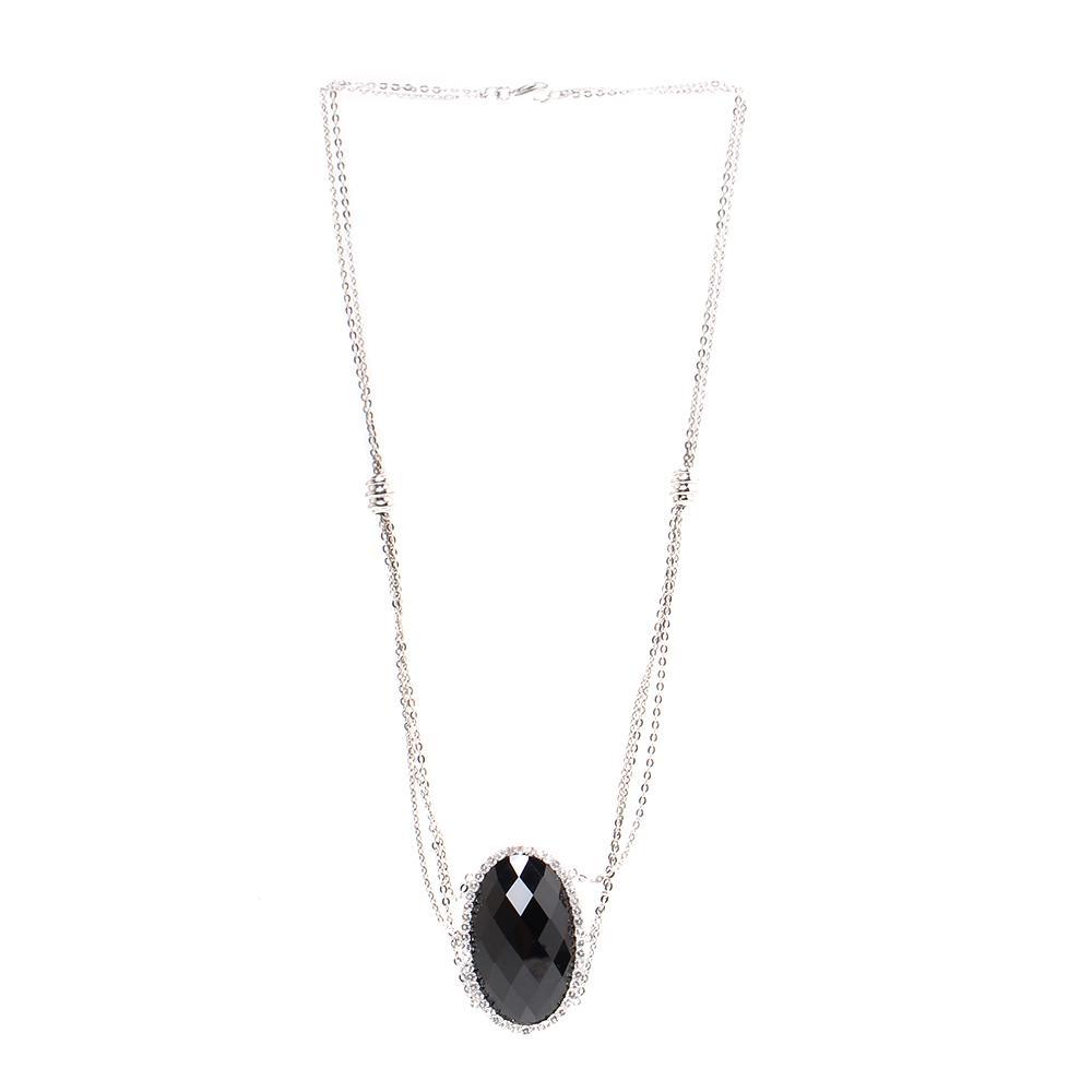 14k Gold Sterling Silver Onyx & Topaz Necklace