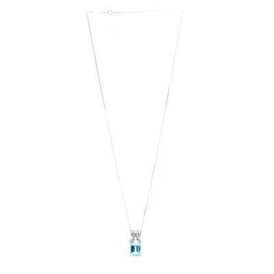 14K White Gold E/C Blue Topaz Diamond Necklace