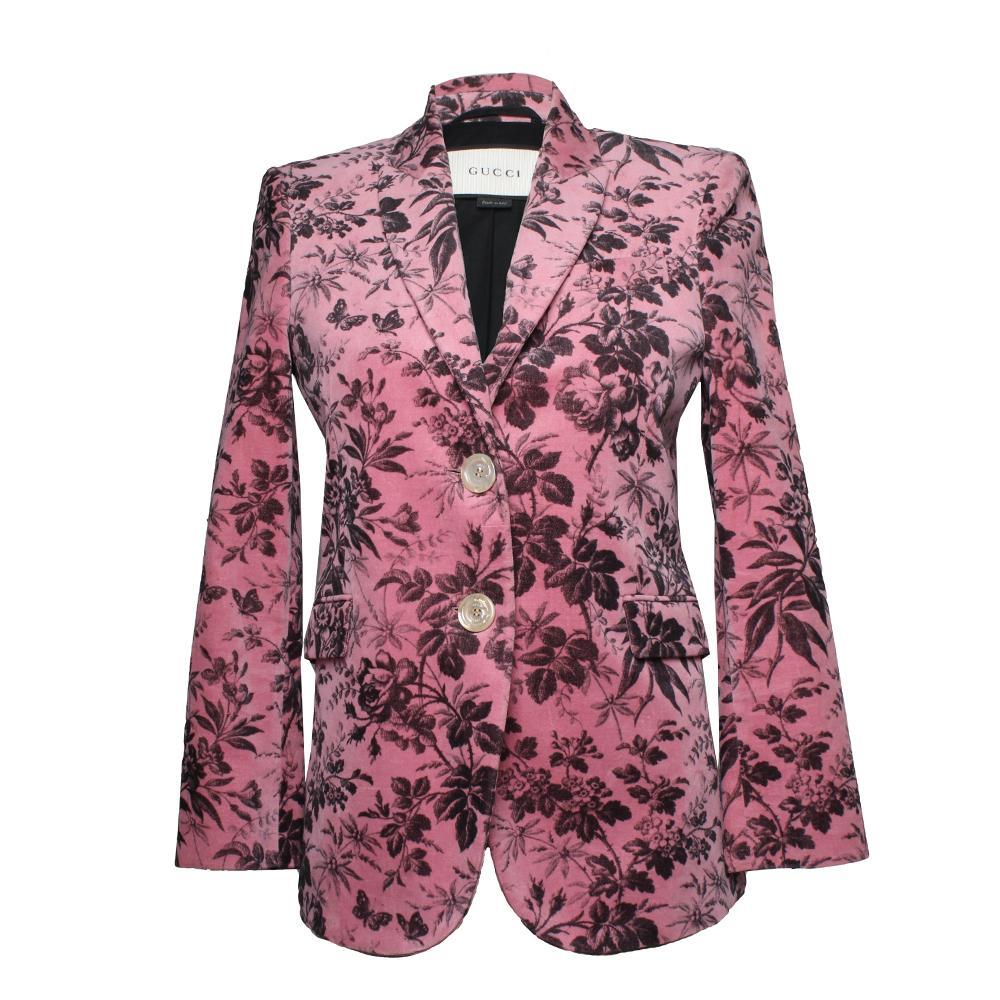 Gucci Size 40 Velvet Floral Blazer