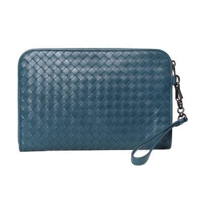 Bottega Veneta Blue Leather Woven Clutch