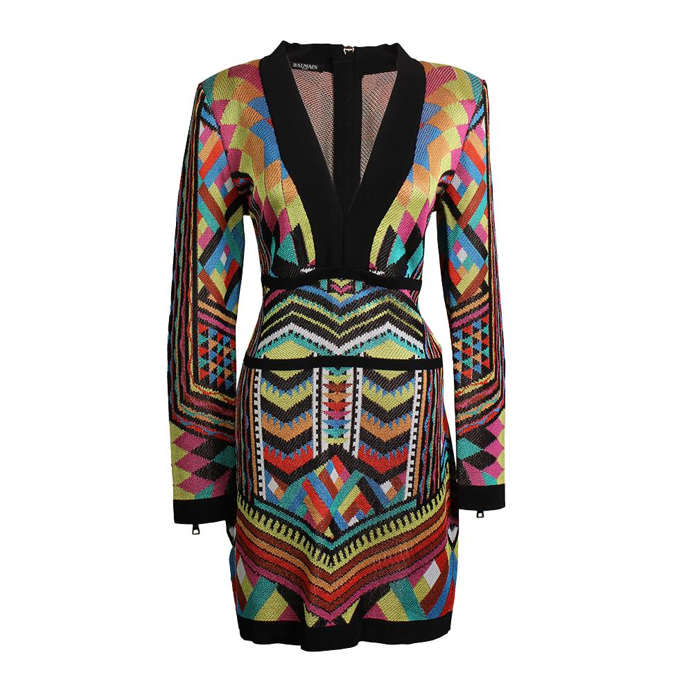 Balmain Size 44 Knit Jacquard Dress