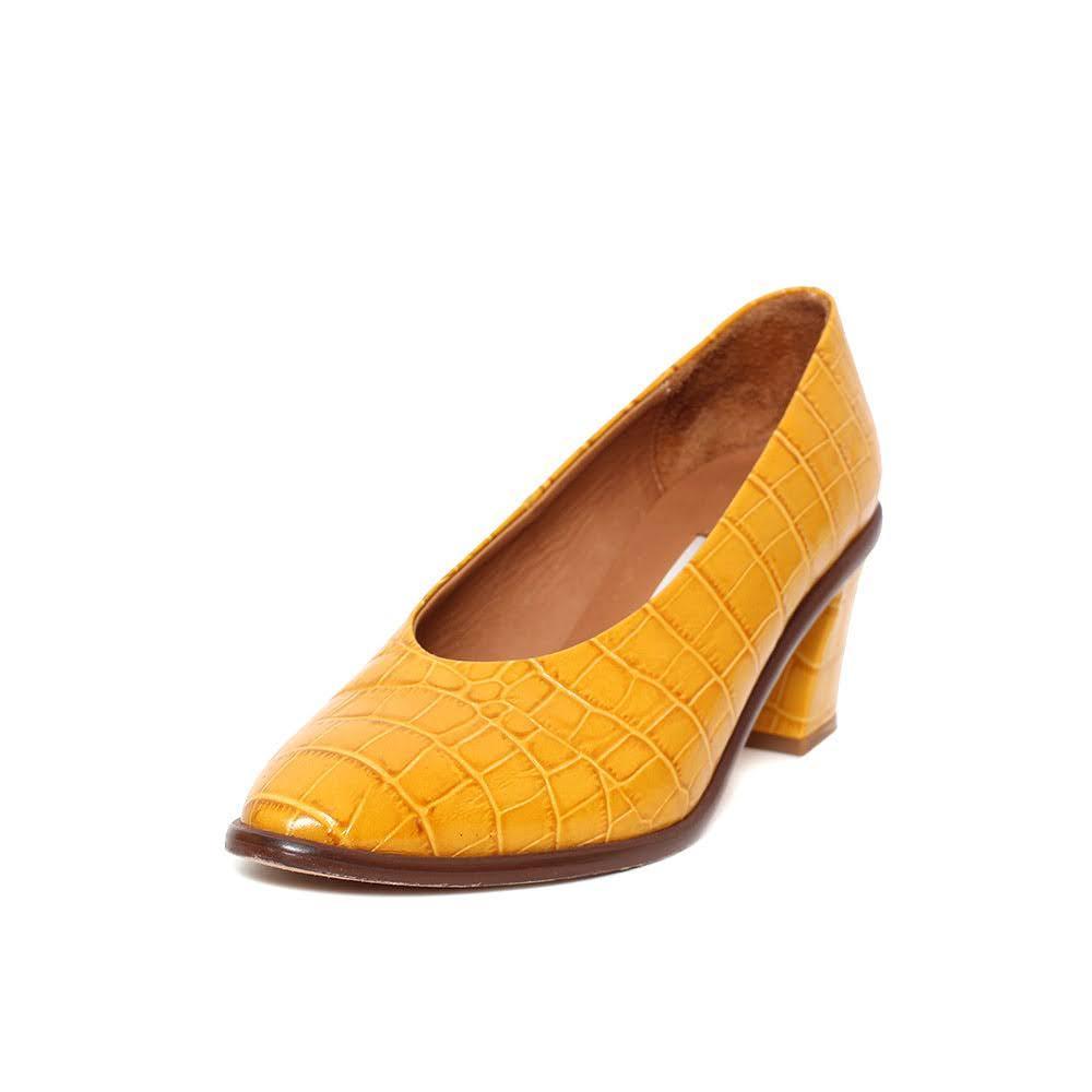 Miista Size 38 Mustard Embossed Leather Heels