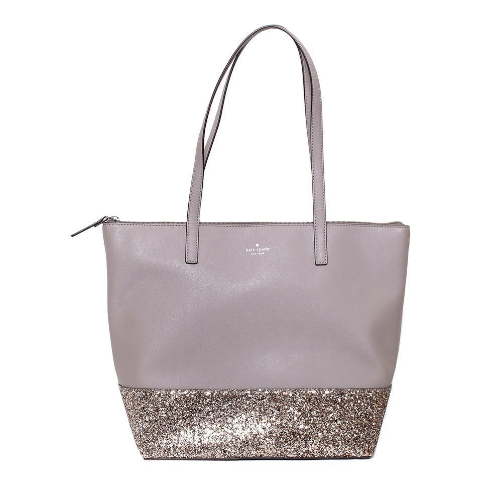 Kate Spade Taupe Glitter Shopper Tote
