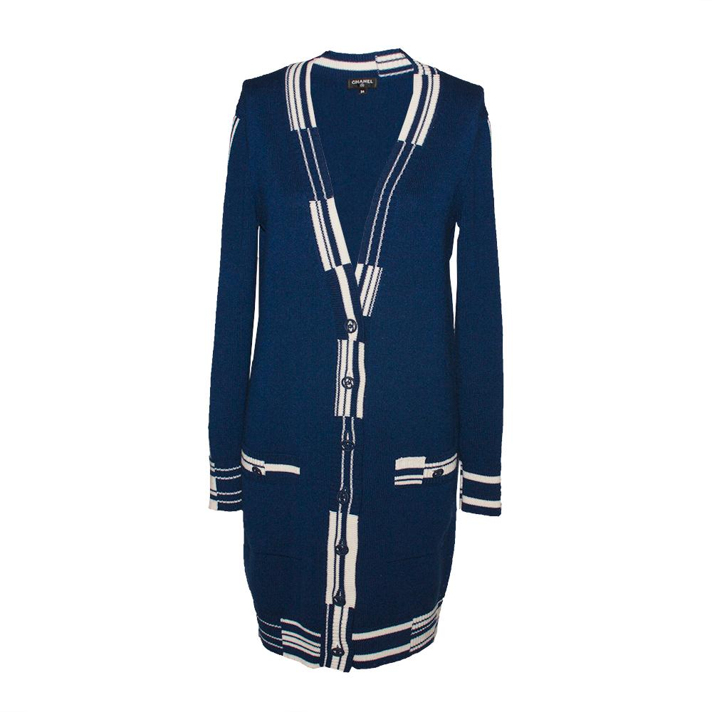 Chanel Size 34 2019 Dark Blue Cashmere Cardigan