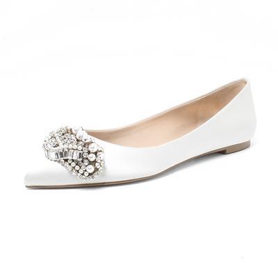 Badgley Mischka Size 6.5 Satin Jeweled Flats
