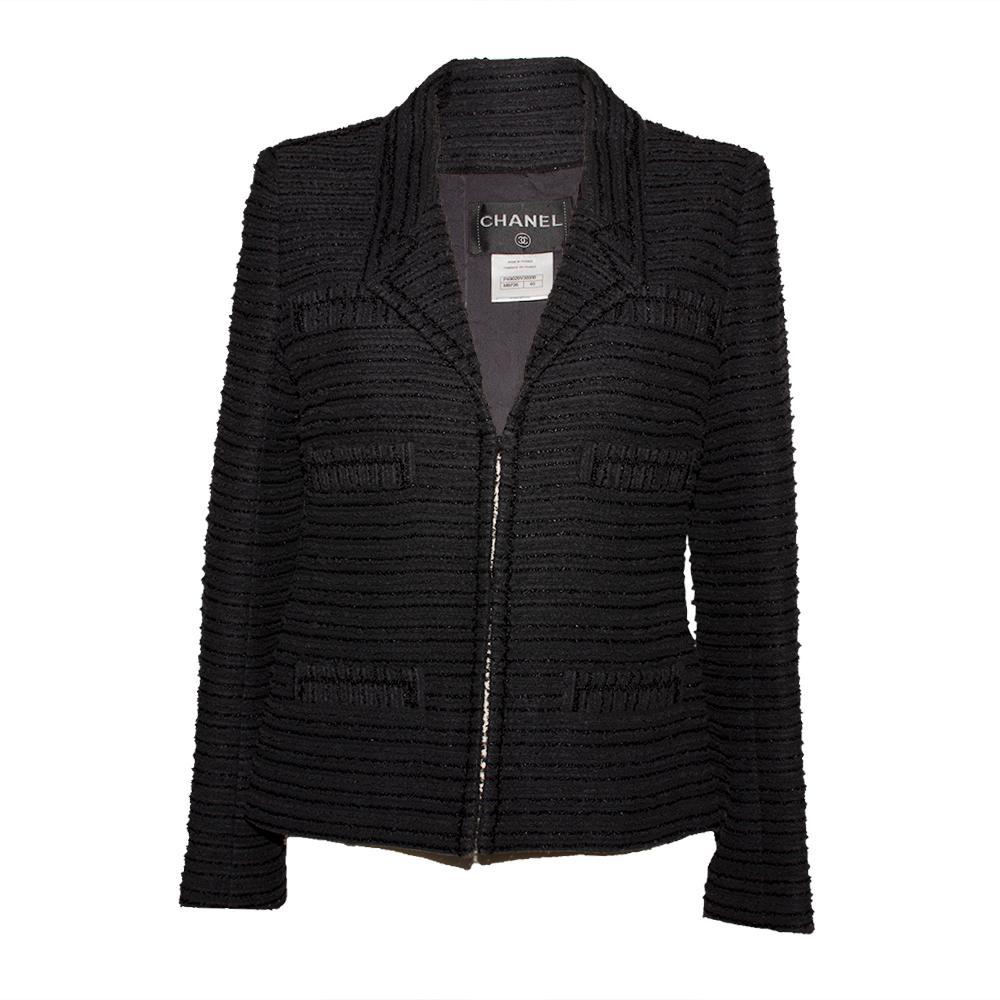 Chanel Size 40 2014 Black Cotton Tweed Jacket