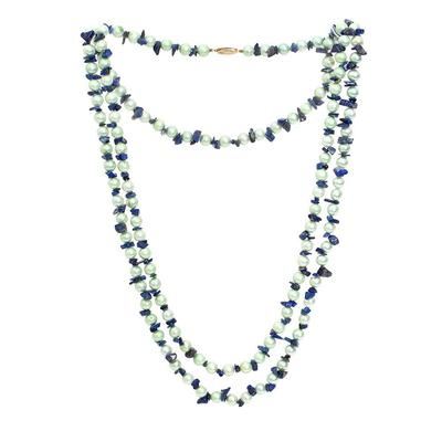 Pearl, Lapis, 18 Karat Gold Clasp Necklace