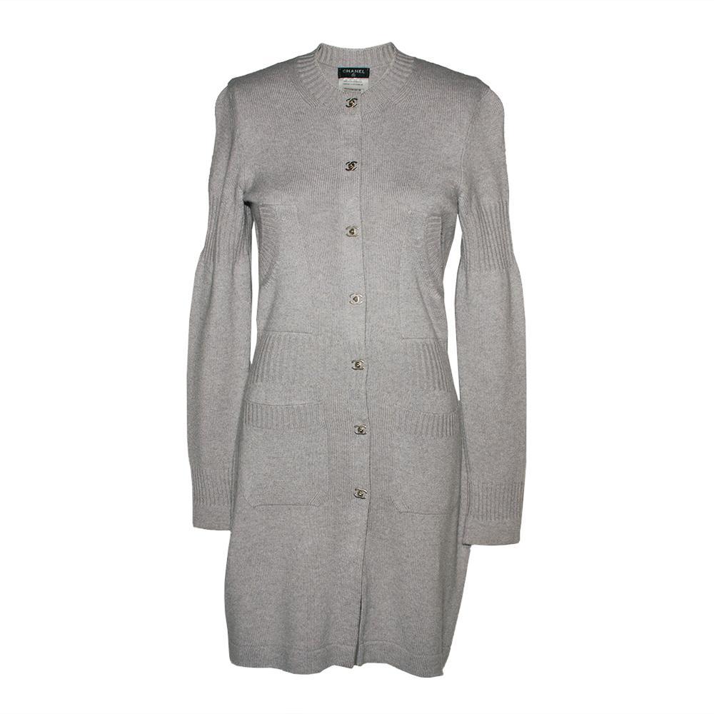 Chanel Size 36 2015 Pale Grey Cashmere Cardigan Dress