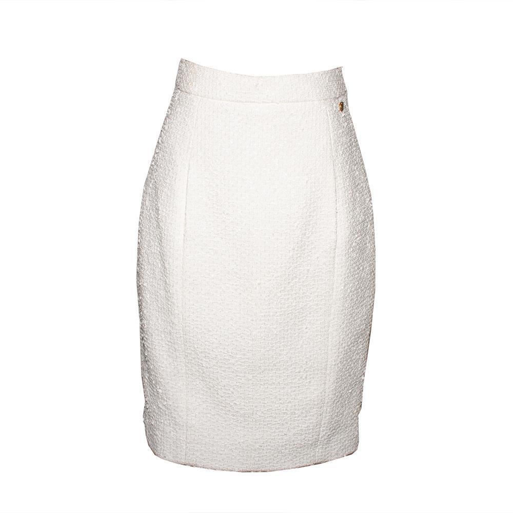 Chanel Size 40 2018 White Cotton Tweed Skirt