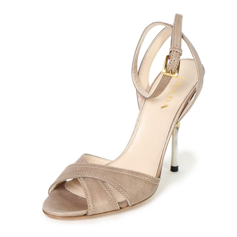 Prada Size 37.5 Nappa Flower Heel