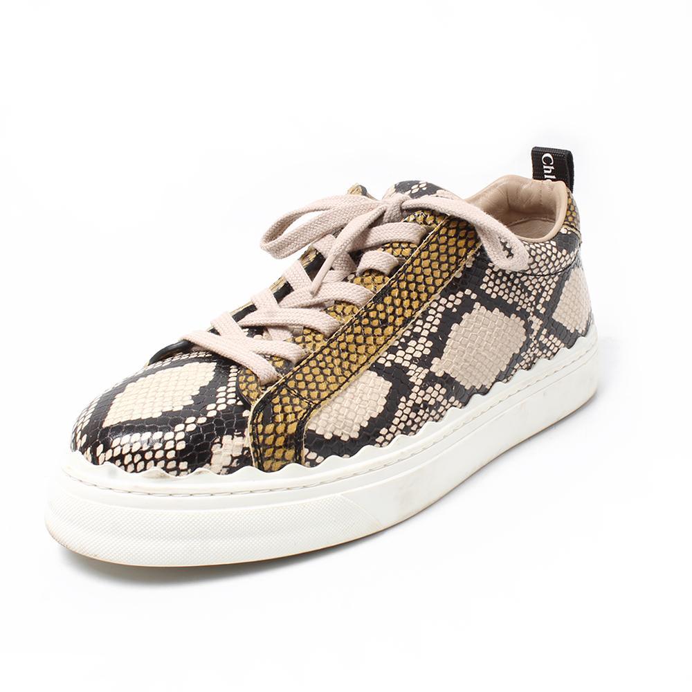 Chloe Size 40 Low Top Snakeprint Sneaker