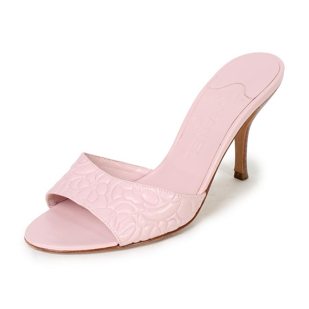 Chanel Size 37.5 Pink Camelia Heels