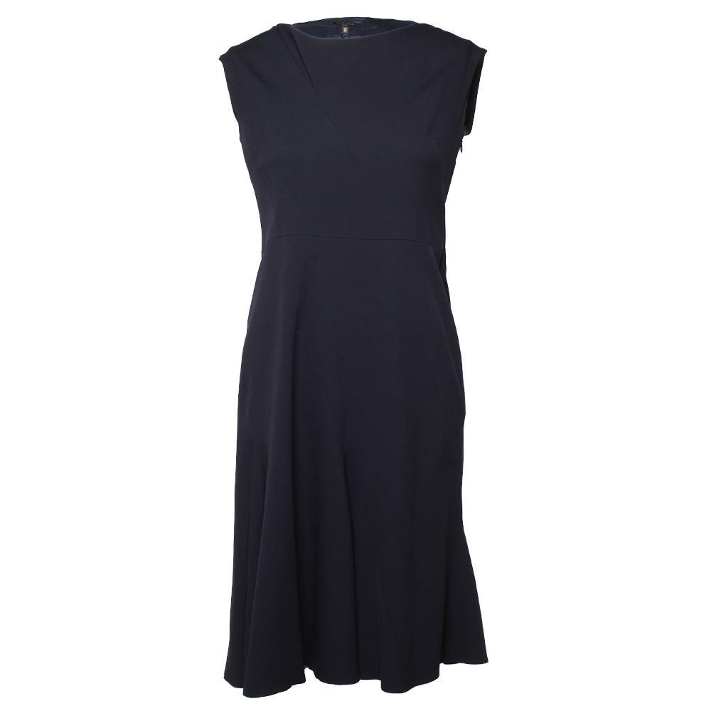 Escada Size 38 Navy Virgin Wool Dress