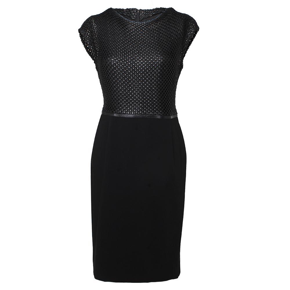 Escada Size 38 Black Woven Leather Dress