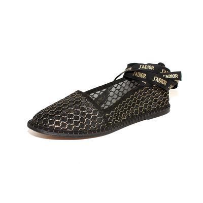 Christian Dior Size 38.5 Mesh Metallic J'adior Flats