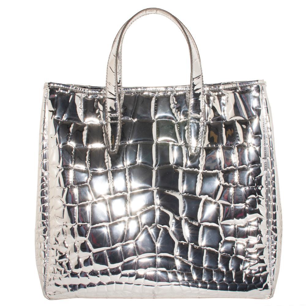 Saint Laurent Runway Metallic Crocodile Patent Leather Tote Bag