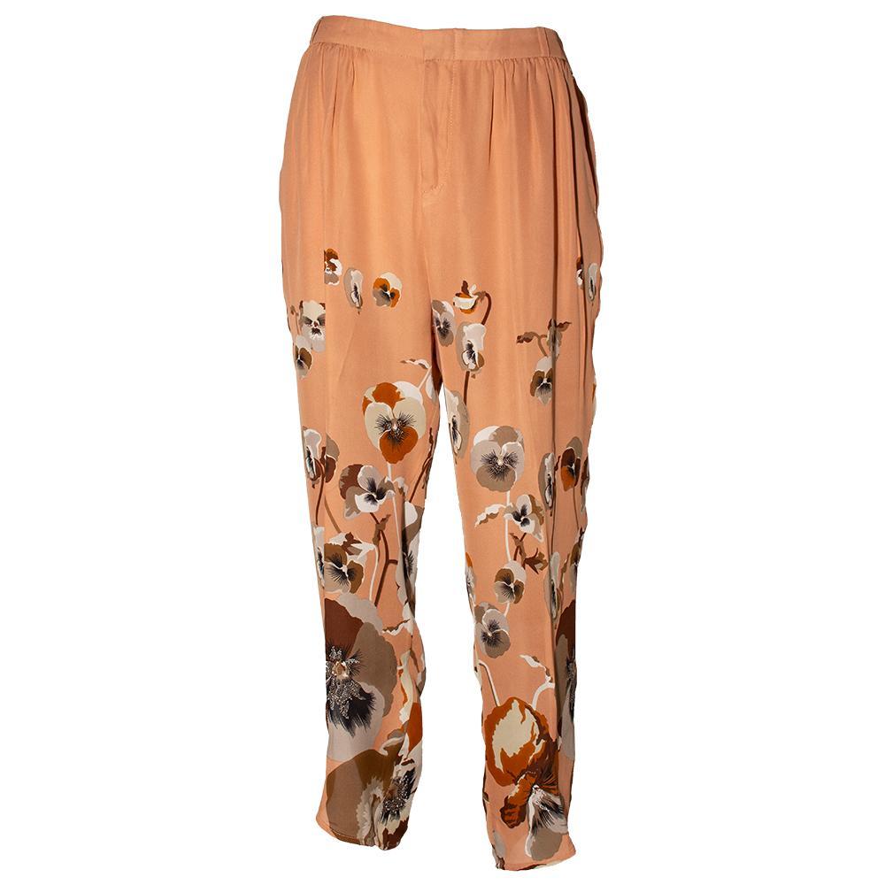 Gucci Size 40 Tan Floral Pants