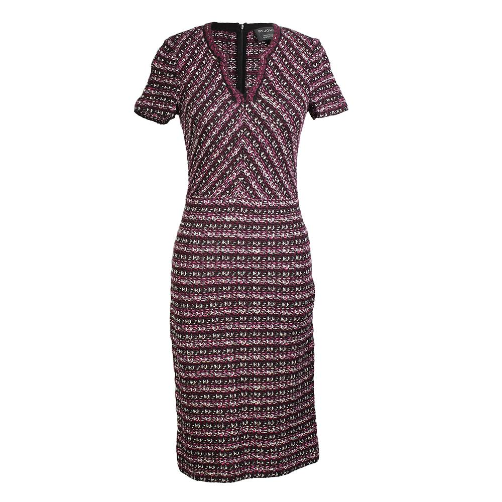 St.John Size 0 Multi Tuck Tweed Dress