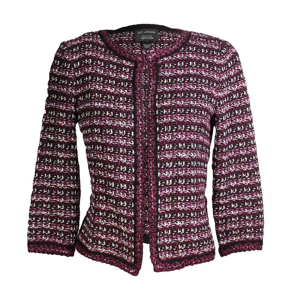 St.John Size 2 Multi Tuck Tweed Knit Jacket