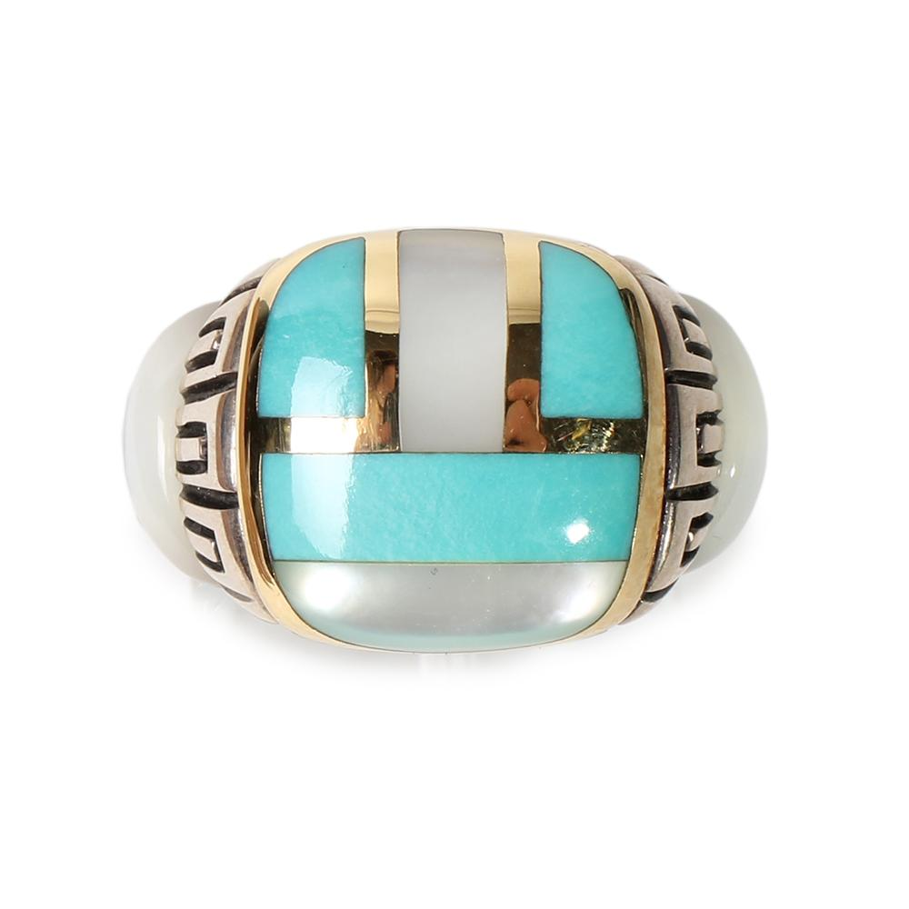 Asch Grossbardt Size 9 Multi Inlay Ring