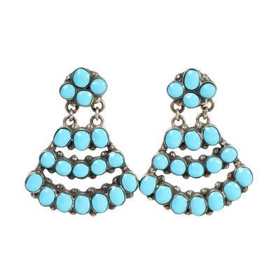 Turquoise & Sterling Silver Chandelier Earrings