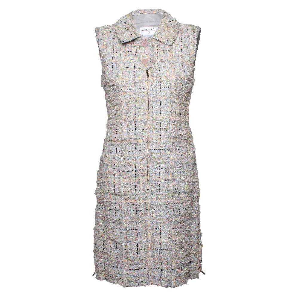 Chanel Size 38 Grey Tweed Dress