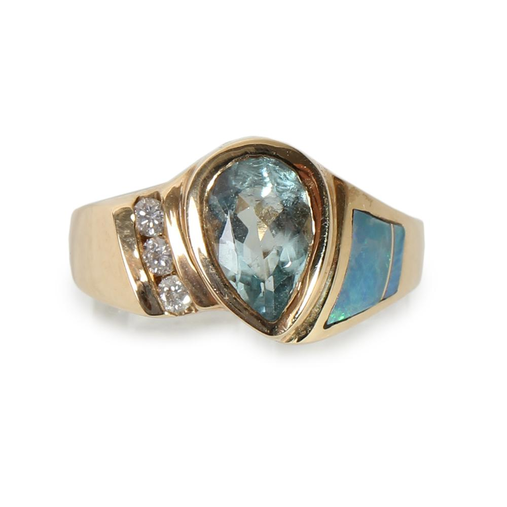14k Gold Aquamarine Gold Ring Size 7