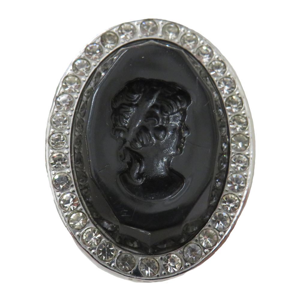 Dolce & Gabbana Black Silvertone Cameo Ring