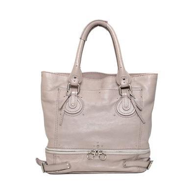 Chloe Grey Leather Tote Bag