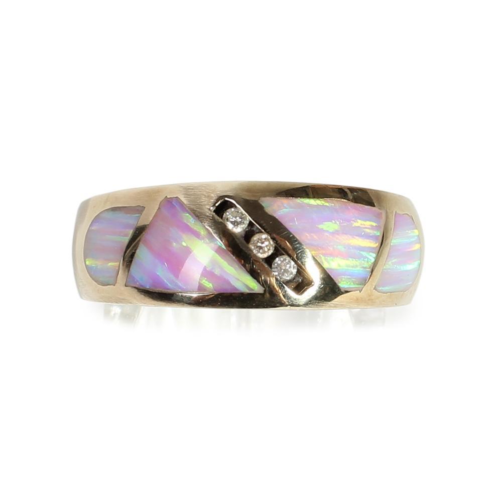14k Yellow Gold Opal & Diamond Ring Size 7