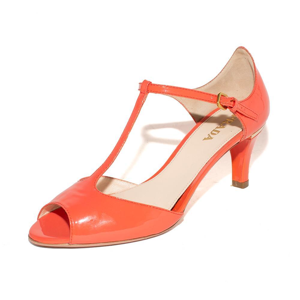 Prada Size 37.5 Orange Patent Leather Heels