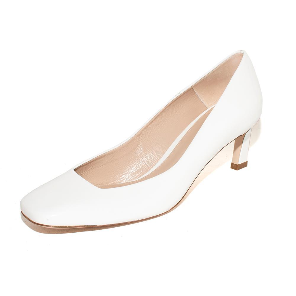 Stuart Weitzman Size 8.5 White Patent Slip Ons