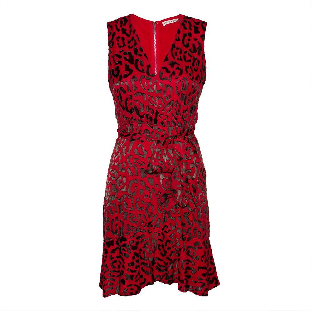 Alice + Olivia Size 2 Red Leopard Print Dress
