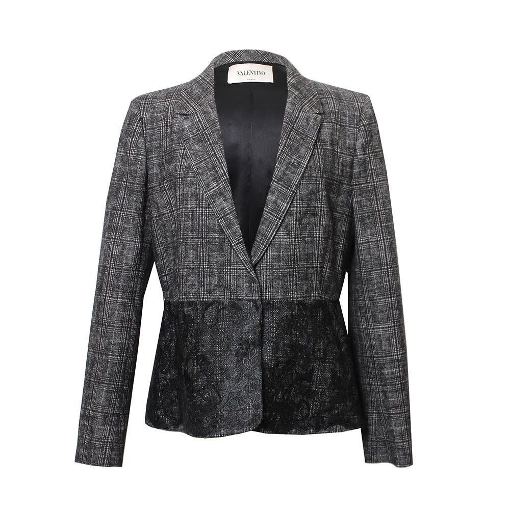 Valentino Size 12 Grey Wool Blazer