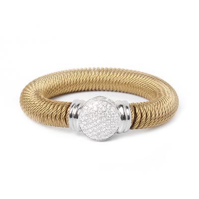 Alor 18K Silver Steel Diamond Springy Bracelet