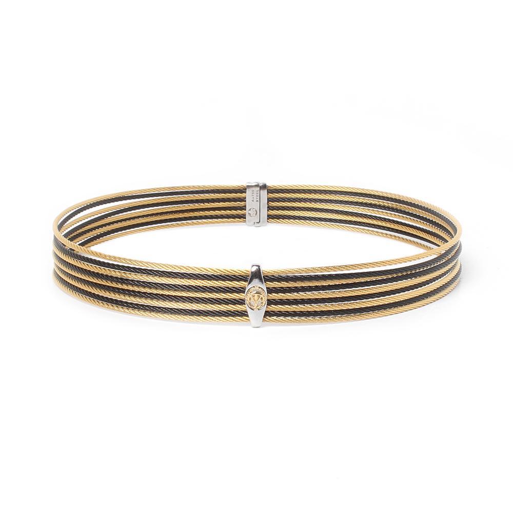 Alor 18k Silver Steel Black & Gold Cable Necklace