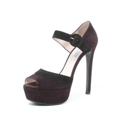 Prada Size 37 Brown Suede Heels