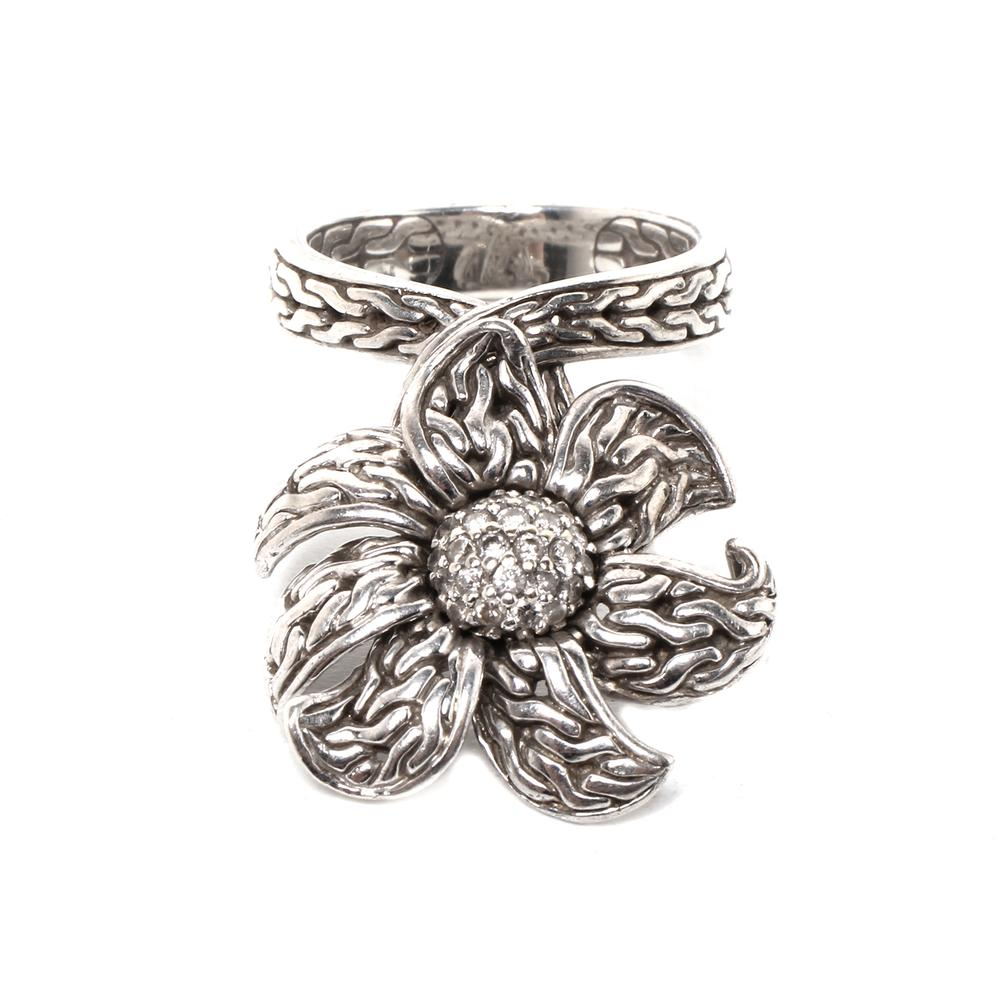 John Hardy Size 4.5 Diamond Floating Flower Ring