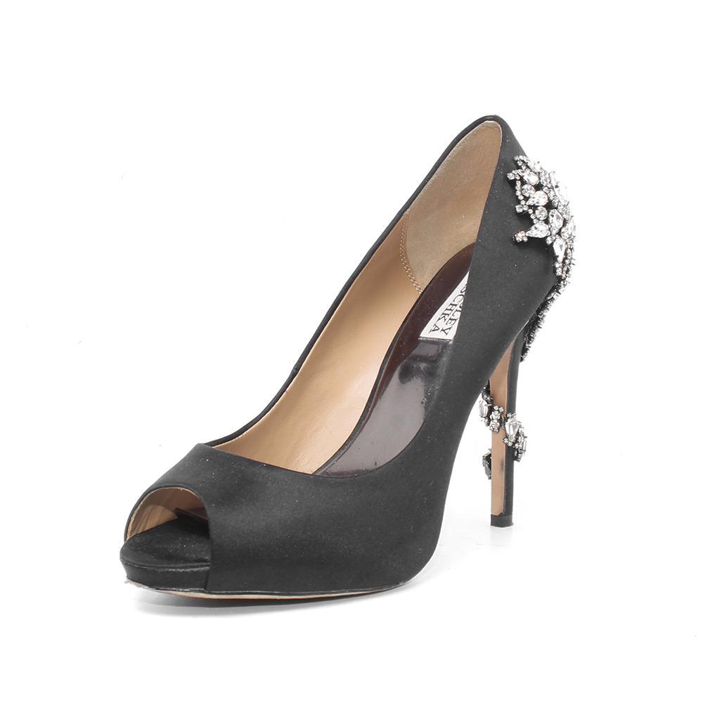Badgley Mischka Size 9.5 Black Peep Toe Heels