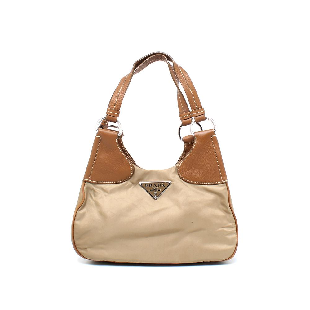 Prada Small Nylon Shoulder Bag W/Leather Straps