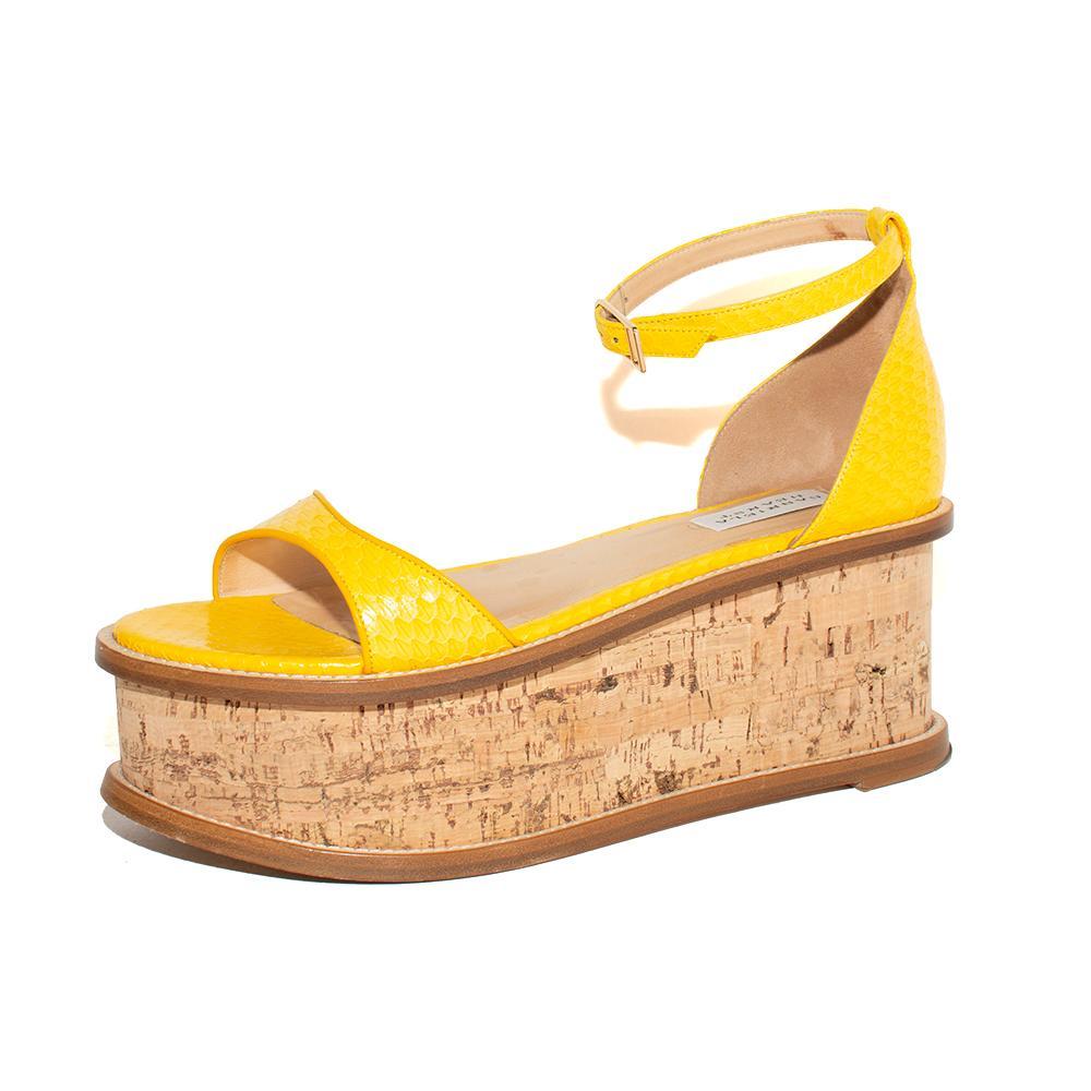 Gabriela Hearst Size 40 Yellow Snake Print Wedge Sandals