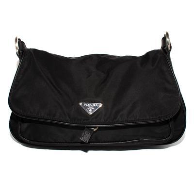 Prada Black Nylon Flap Shoulder Bag