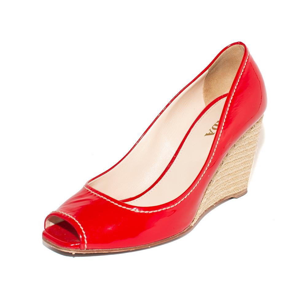Prada Size 37 Red Patent Wedge Heels