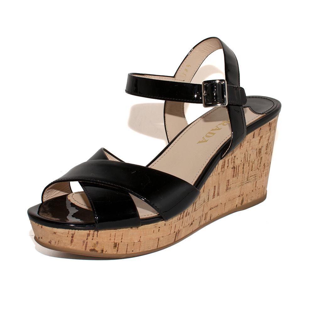 Prada Size 38.5 Black Patent Wedge Sandals