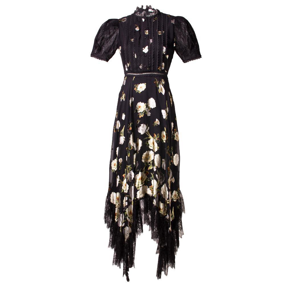 Alice + Olivia Size 0 Black Floral Dress