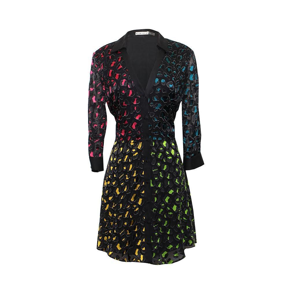 Alice + Olivia Size 10 Print Shirt Dress