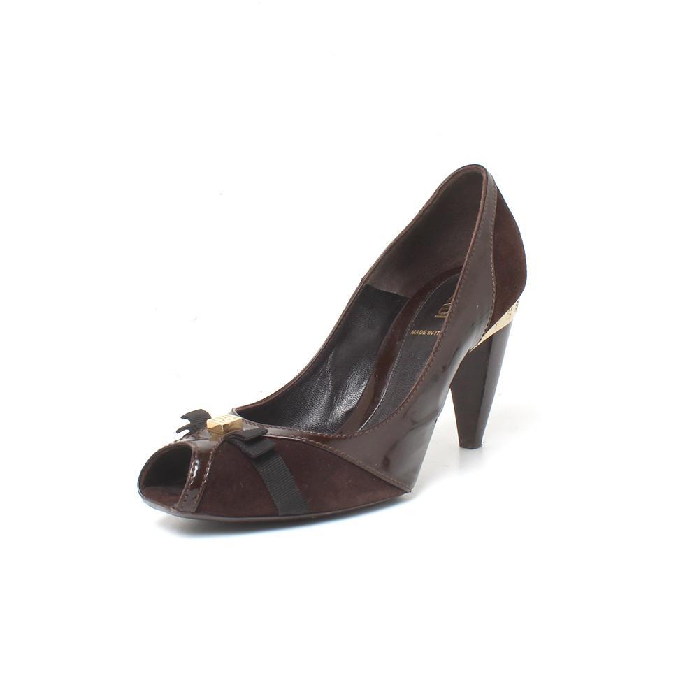 Fendi Size 29 Brown & Gold Suede Peep Toe Heel