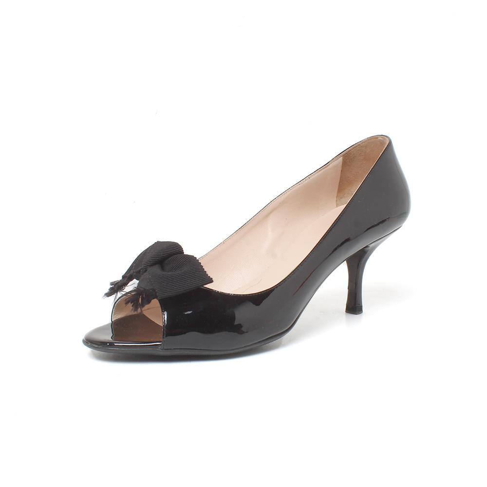 Prada Size 38 Black Patent Leather Peep Toe W/Bow